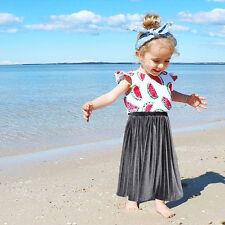 Kids Baby Girls Pleated Skirt Party Dress Long Dress Tutu Skirt Toddler Clothes