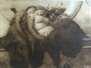 ANTIQUE PRINT 1901 SUMMER MOON BY LORD LEIGHTON TWO GIRLS SLEEPING PAINTING ART