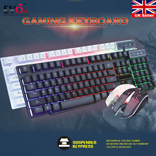 Gaming Keyboard Mouse Set Mechanical Feeling  Rainbow Colorful Backlight For PC