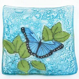 Fused Art Glass Blue Morpho Butterfly Design Square Soap Dish Handmade Ecuador