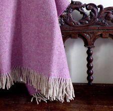 Bronte By Moon Herringbone Blanket Throw In Rose  BRITISH WOOL & MADE IN BRITAIN
