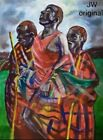 Original Painting African American Folk Art Oil Stretched Canvas Frame Signed