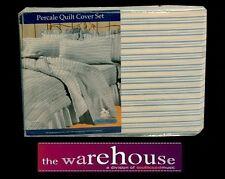 Blue Stripe POLY COTTON PERCALE KING QUILT COVER DUVET DOONA SET + 2 PILLOWCASES
