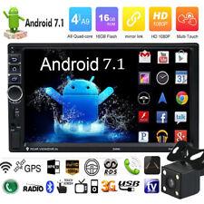 Quad Core 2DIN 7'' Android 7.0 Car GPS Navi WiFi 1080P MP5 Player BT AM FM + Cam