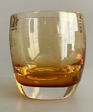 "Glassybaby WHISKEY Votive 3.25"" Hand Blown Amber Glass Candle Holder"
