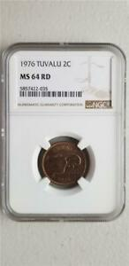 Tuvalu 2 Cents 1976 NGC MS 64 RD