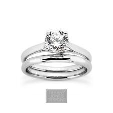 0.83ct G-SI1 Rund Natürlich Zertifizierte Diamant 14k Gold Ring mit Passendem