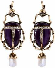 Scarabs Pearl Pendant Drop Earrings Vinty J 00004000 ewelry Skull Earrings With Purple