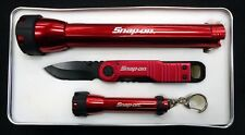 Snap-On Tool Set Two Flashlight Knife Set In Tin Box
