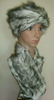 White Black Fleck Faux Fur Russian Style Hat & Neck Warmer Short Collar Scarf