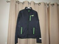 NWOT new HOLLISTER womens black & lime green full zip front jacket medium