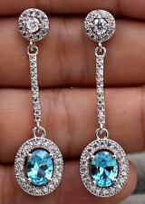 18K White Gold Filled- 1.8'' Oval Blue Topaz Zircon Gemstone Party Drop Earrings
