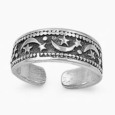 USA Seller Moon & Star Band Toe Ring Sterling Silver 925 Best Adjustable Jewelry