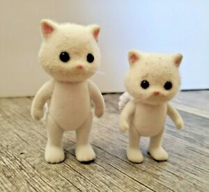 Calico Critters or Similar White Persian Cats Two Figures