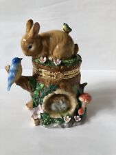 CWC Bunny Rabbit Bluebird Butterfly Easter Large Trinket Box - Fantastic Colors