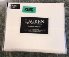 LAUREN RALPH LAUREN  300 TC DUNHAM SATEEN X-Deep White KING SHEET SET NIP