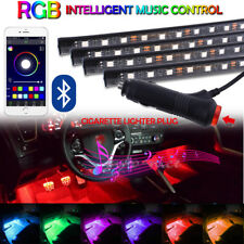 4Pcs 12LED Car Interior Atmosphere Neon Lights Strip Wireless Bluetooth Control