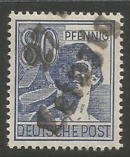 "Estampillas-Alemania-zona soviética. 1948. 80pf Azul. ""Leipzig"". Michel: 180 V. geprüft"
