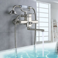 Wall Mounted Bathtub Faucet Extended Spout Mixer Tap with Hand Shower Brushed