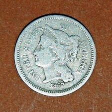 1867 3c NICKEL~LIBERTY HEAD~COINED IN PHILADELPHIA~VERY FINE