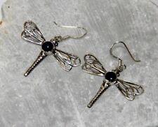 Earring 925 Silver Dragonfly Lapislazuli Threader 3,7 x 3,1 cm Handarbeit