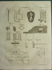 1797 GEORGIAN PRINT ~ PNEUMATICS AIR LUNGS VARIOUS DIAGRAMS USES