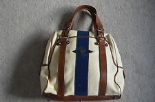 Celine Beige Brown Blue Leather Race Stripe Zip Womens Tote Shopper Handbag