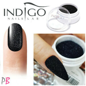 INDIGO Nail Powder Snow Effect Black 2.5g Glitter Dust Nail Art