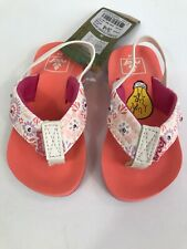 NEW Reef Girl's Toddler 3/4 Little Ahi Light Up Coral Flip Flops Sandals