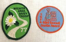 2 Girl Scout Embroidered Patches 1977 Wichita Area Daisy Troup 1974 Cookie Award
