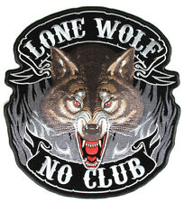 Lone wolf no club Patch Toppa Grande MOTOCICLISTA BACKPATCH moto harley