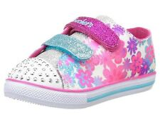 Skechers Twinkle Toes Trainers Light Up Chit Chat Floral White/Silver/Pink UK4