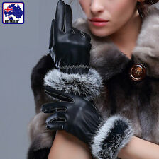 Gloves Warm Lady Luxury Rabbit Fur Cuff Leather Soft Black Glove M/L CGLOV33