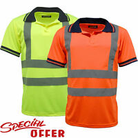 HI VIZ VIS HIGH VISIBILITY POLO SHIRT REFLECTIVE TAPE SECURITY WORK WEAR S - 3XL