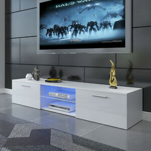 Modern 160cm TV Unit Cabinet Stand High Gloss Doors w/ RGB LED Lights Drawers