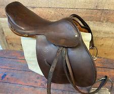 "Saddle 14"" Northrun Leather saddle Made in England In Good Shape With Stirrups"