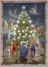 Christmas Tree Poster From 1951 Of Mary Jesus Angels Vintage Reproduction!