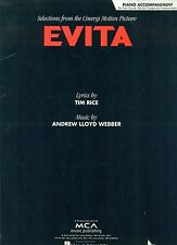 """EVITA"" RARE MUSIC BOOK PIANO ACCOMPANIMENT FLUTE..ANDREW LLOYD WEBBER MADONNA!!"