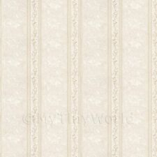 MyTinyWorld Pack of 5 Dolls House Ornate Pale Beige Striped Wallpaper Sheets