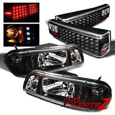 Ford Mustang 87-93 Black LED Headlight+Corner Signal Lamp + Tail Light Combo Set