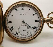 Vintage RELLENO DE ORO Elgin Completo Hunter Reloj De Bolsillo