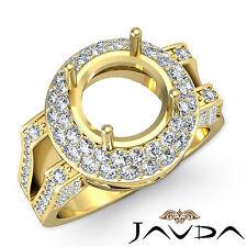 Diamond Engagement Filigree Ring 14k Yellow Gold Halo Pave Round Semi Mount 1.1C