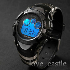 OHSEN Sport Blue LED Day Date ALM Quartz Digital Young Boys Mens Rubber Watch 70