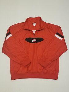 Red Oak Ohio State Buckeyes Football Mesh Lined Pullover 1/4 Zip Jacket Men's L