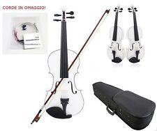 Violino 4/4 Bianco Legno Custodia Rigida Accessori CORDE DI RICAMBIO OMAGGIO