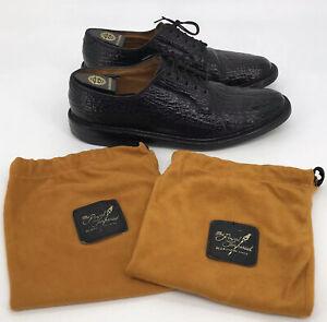 Vintage 5 Nail Florsheim Imperial Black Exotic Leather Oxfords 639374 Men 10.5 B