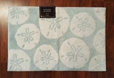 "Nautical Bathroom Bath Mat Rug Sand Dollars Blue White 20"" X 30"" Coastal NEW"