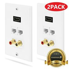 Fosmon 2x 1.4 HDMI RCA Mono Audio Coaxial Dual Ethernet RJ45 Wall Plate for HDTV