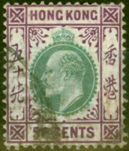 Hong Kong 1904 50c Green & Magenta SG85 Fine Used