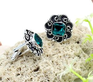 "Handmade 925 Sterling Silver London Blue Topaz Gemstone Jewelry Cuff Links S-1"""